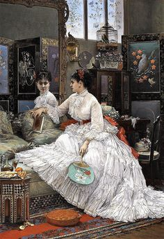 """Distraction"" circa by Jules-Émile Saintin. This painting has so many beautiful details to study—from the gilded furnishings to the lady's gorgeous ensemble complete with painted fan. Cross Stitch Designs, Counted Cross Stitch Patterns, Embroidery Patterns, Hand Embroidery, Intermediate Colors, Painted Fan, Different Kinds Of Art, Old Paintings, Vintage Paintings"