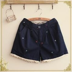 Buy 'Fairyland – Embroidered Lace Hem Shorts' with Free International Shipping at YesStyle.com. Browse and shop for thousands of Asian fashion items from China and more!