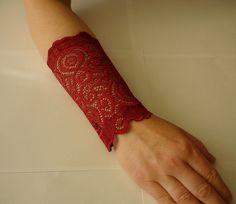 Lace Wine bracelet Lace Wrist Cuff Wine Strech by IskaCreations