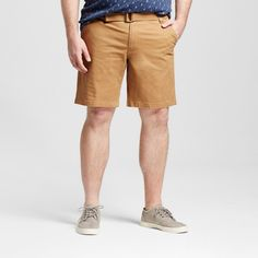 Men's Big & Tall Belted Flat Front Chino Shorts Brown 54 - Mossimo Supply Co.