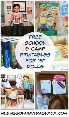 Free school, camp and vacation printables for My Life, American Girl and dol… - American Girl Dolls Cute School Binders, Ag Dolls, Girl Dolls, American Girl Accessories, Doll Accessories, American Girl Crafts, American Girls, 3d Templates, Diy Inspiration
