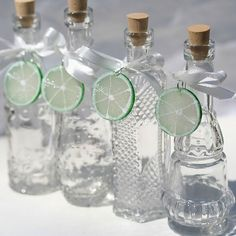 For a truly unique favor, these gorgeous glass bottles with clever lime slice charms can be filled with tequila or another favorite drink. Hen Party Favours, Wedding Party Favors, Bridal Shower Favors, Wedding Events, Wedding Ideas, Weddings, A Day To Remember, Event Planning, Tequila