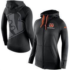 Cincinnati Bengals Womens Black Warpspeed Nike Full-Zip Hoodie. . LOVE https://www.fanprint.com/licenses/cincinnati-bengals?ref=5750