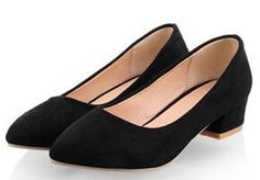 2015 women new fashion spring summer pointed toe 4cm thick heel solid color shoes large plus size 40-43