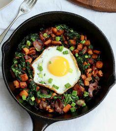 Sweet Potato Bacon Kale Hash.