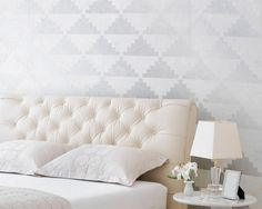 Geometric Wall Stencil Large Step Up Triangles Modern Allover Stencil for Modern Painted Wallpaper Look op Etsy, £25.00