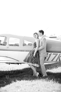 Vintage airplane engagement shoot. Photography by HeatherCookElliott.com
