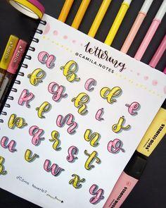 Bullet Journal Banner, Bullet Journal Writing, Bullet Journal Notes, Bullet Journal School, Bullet Journal Ideas Pages, Bullet Journal Inspiration, Hand Lettering Alphabet, Hand Lettering Quotes, Journal Fonts