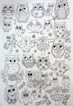 Owl stencils and templates. There are lots of other owl designs on this page (although it is in Russian): Talk to LiveInternet - Russian Service Online Diaries Colouring Pages, Adult Coloring Pages, Coloring Books, Owl Patterns, Embroidery Patterns, Owl Crafts, Owl Art, Art Plastique, Doodle Art