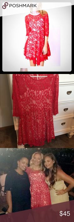 Free People Red Lace Dress 💞 EUC! Worn once for a few hours! Sooooo comfy and flowy! You don't feel like you're wearing such a cute dress!! It's totally effortless to look so classy! Light weight and soft! Free People Dresses Long Sleeve