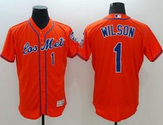 sports shoes 72db2 549b8 Mets  1 Mookie Wilson Orange Flexbase Authentic Collection Los Mets  Stitched MLB Jersey