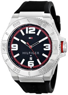 Tommy Hilfiger Men's 1791034 Analog Display Quartz Black Watch >>> Want additional info for the watch? Click on the image.