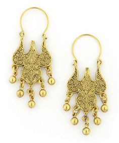 Take a look at this Gold Eastern Earrings by Antiquities Couture on #zulily today!