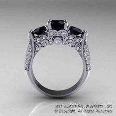 Three Stone Black Diamond Engagement Rings