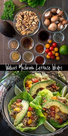 Raw vegan walnut mushroom lettuce wraps rawmazing com chili lime salmon tacos with mango salsa Raw Vegan Dinners, Raw Vegan Recipes, Vegan Foods, Vegan Dishes, Vegetarian Recipes, Paleo, Healthy Recipes, Vegan Raw, Wraps Vegan