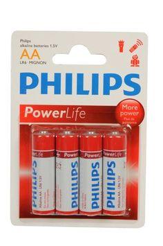 4-Pack Philips Power Alkaline Batterijen (AA LR6-Mignon 1.5V)
