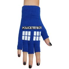 Hot Topic Doctor Who TARDIS Fingerless Gloves ($7.42) ❤ liked on Polyvore featuring accessories, gloves, black and fingerless gloves