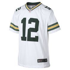 Nike NFL Green Bay Packers (Aaron Rodgers) Kids' Football Away Game Jersey Size Large (White)