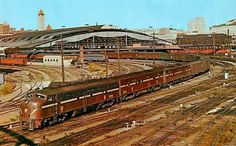 PRR train leaving Union Station in St. Louis in the heyday of rail travel. St Louis Union Station, New York Central Railroad, History Pics, Pennsylvania Railroad, Train Pictures, Train Stations, St Louis Mo, Diesel Locomotive, Train Tracks