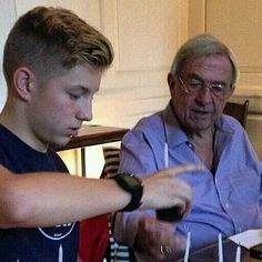 Prince Constantine Alexios with his grandfather King Constantine II