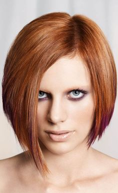 21 Awesome Hairstyles in Winter's Hottest Colors: #4. Copper-colored asymmetrical bob