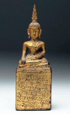 Lot: Laos Gilded Wood Buddha, Lot Number: 0105A, Starting Bid: $200, Auctioneer: Artemis Gallery, Auction: Antiquities, Pre-Columbian & Ethnographic Art, Date: May 21st, 2015 CEST