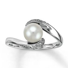 #engagementparty Kay Jewelers 10K White Gold Diamond and Pearl Ring. $359.