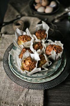 Muffins de courgette, feta e azeite # Olive oil, feta and zucchini muffins