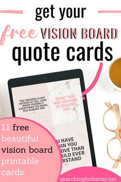 Vision Board Workbook + Quotes - Searching For Better Free Printable Quotes, Printable Cards, Printables, Goal Setting Activities, Creating A Vision Board, Healthy Mind And Body, Spiritual Guidance, Board Ideas, Goal Settings