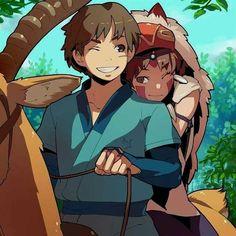 Princess Mononoke (Ghibli) - Ashitaka x San Hayao Miyazaki, Mononoke Anime, Mononoke Cosplay, Totoro, Studio Ghibli Art, Studio Ghibli Movies, Mononoke Forest, Personajes Studio Ghibli, Manga Anime
