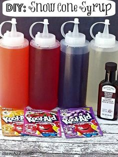 DIY your own snow cone syrup using packets of Kool-Aid.