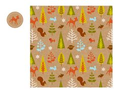 Eco Christmas Woodland Wrapping Paper, by Amy Blay