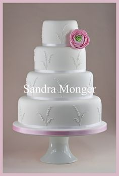 Lily of the Valley and Ranunclus Wedding Cake
