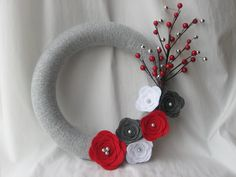 Holiday Wreath, Silver, Red and White Yarn and Felt Flower Wreath, Christmas Wreath 12 inches. $40.00, via Etsy.