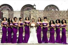 This deep eggplant color looks good on all of these bridesmaids #munabridesmaids / via @peridotofficial