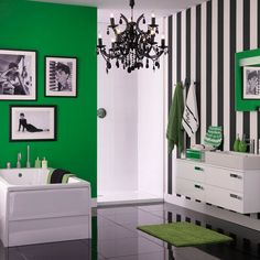 Monochrome And Green Bathroom