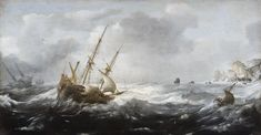 Ships in a Storm on a Rocky Coast by Jan Porcelli. Oil on canvas, 1614-1618, Hallwyl Museum.