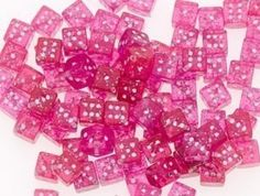 Pink glitter dice beads #pink #color #colours