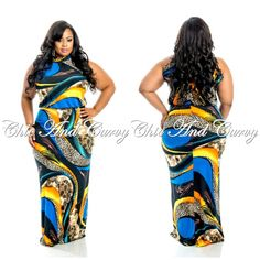 Yellow and blue plus size dress