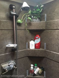 Plexiglass walls added to RV shower - bathroom storage idea for campers, travel trailers, and motorhomes