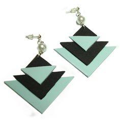 Elegance Orecchini Geometrici a triangoli in Moosgummi celeste polvere e nero