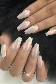 Gorgeous Summer nails, pink holographic nails