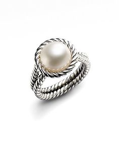 David Yurman - White Freshwater Pearl & Sterling Silver Cable Ring. Slightly obsessed
