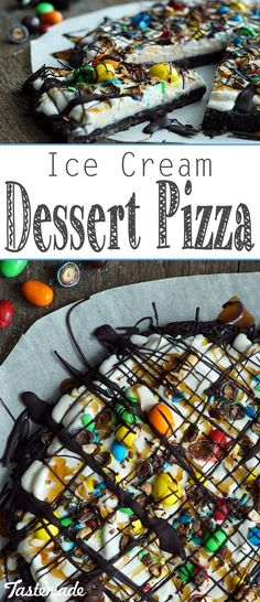 Ice Cream Dessert Pizza With Oreos, vanilla ice cream, hot fudge and M&M's, this might be the sweetest pizza ever. Ice Cream Pizza, Oreo Ice Cream, Ice Cream Desserts, Vanilla Ice Cream, Frozen Desserts, Cream Cake, Frozen Treats, Brownie Pizza, Pizza Cake