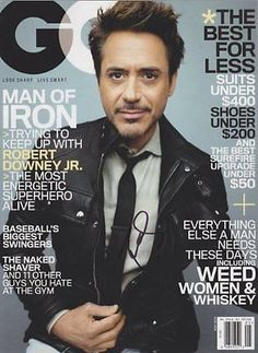 Robert Downey Jr. Autographed Signed Gq Magazine COA 'Iron Man Tony Stark'