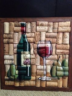 Wine bottle glass painting on cork with pears by WineALotMore Wine Craft, Wine Cork Crafts, Bottle Cap Crafts, Bottle House, Wine Cork Art, Wine Bottle Corks, Pears, Cork Ideas, Diy Gifts