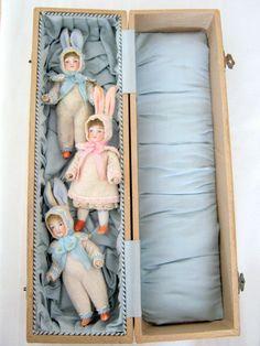 3 antique bisque rabbit dolls girls and boy /Hertwig/Germany