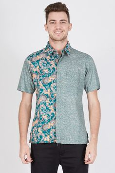 Men Hem Batik Ceblok Latar in Green Batik-print