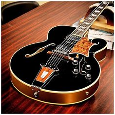 Gibson Tal Farlow Model in Ebony with Gold sides and back. Jazz Guitar, Guitar Art, Guitar Strings, Music Guitar, Cool Guitar, Acoustic Guitar, Guitar Inlay, Guitar Logo, Violin