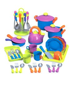 Look what I found on #zulily! Purple, Blue & Green Play Cookware Set by Constructive Playthings #zulilyfinds
